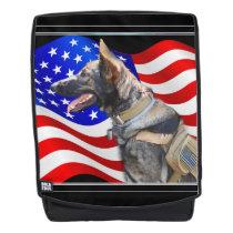 Veteran German Shepherd dog boldface backpack