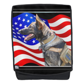 Veteran German Shepherd dog boldface backpack