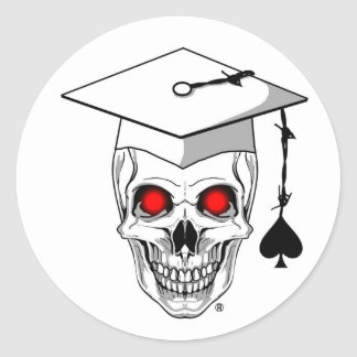 Veteran graduate skull classic round sticker