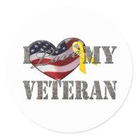 Veteran Love Round Sticker