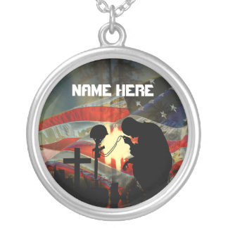 Veteran Memorial Vale of Tears  Remembrance Round Pendant Necklace