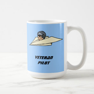 Veteran Pilot Paper Airplane Funny Cartoon Coffee Mug