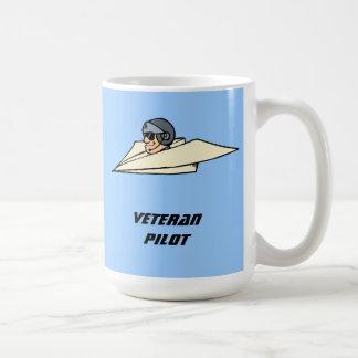 Veteran Pilot Paper Airplane Funny Cartoon Classic White Coffee Mug