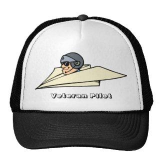 Veteran Pilot Paper Airplane Funny Cartoon Trucker Hat