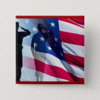 Veteran Salutes the Flag Patriotic Button