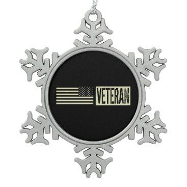 Veteran Snowflake Pewter Christmas Ornament