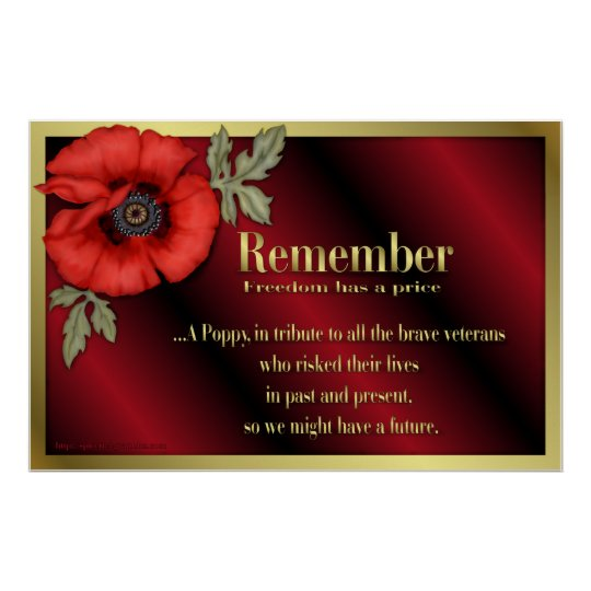Veteran Tribute With Red Poppy Poster