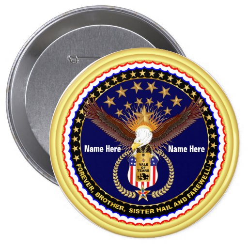 Veteran Vale of Tears Remembrance Round Only 4 Inch Round Button