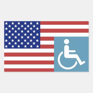 Veterano americano lisiado pegatina rectangular