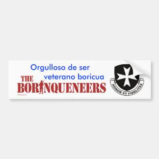 Veterano Boricua 2 - pegatina para el parachoques Etiqueta De Parachoque