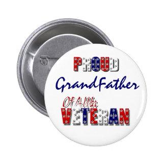 Veterano de guerra de abuelo orgulloso pin redondo 5 cm