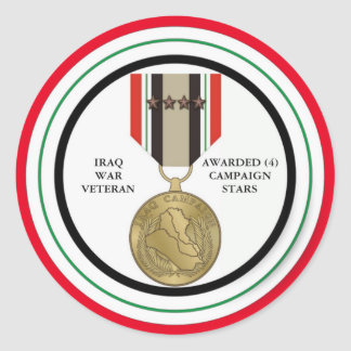 VETERANO DE GUERRA DE IRAQ DE 4 ESTRELLAS DE LA PEGATINAS REDONDAS