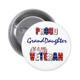 Veterano de guerra orgulloso de la nieta pin redondo 5 cm