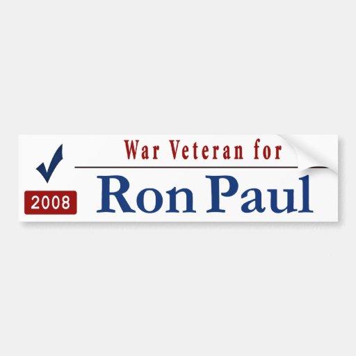 Veterano de guerra para Ron Paul Etiqueta De Parachoque