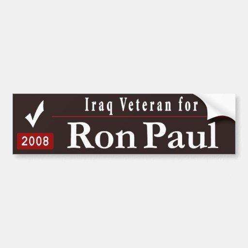 Veterano de Iraq para Ron Paul_black Etiqueta De Parachoque