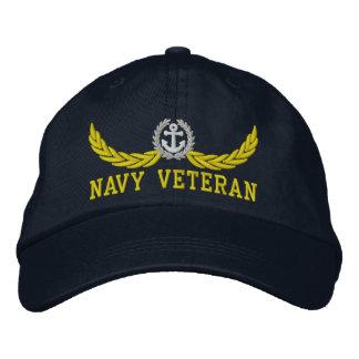 Veterano de la marina de guerra y adorno náutico gorras de beisbol bordadas
