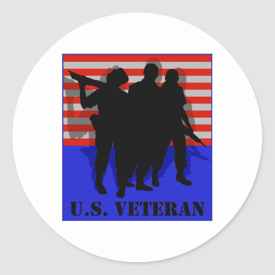 Veterano de los E.E.U.U. Pegatina Redonda