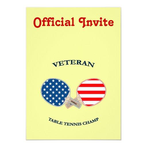 """Veterano de los tenis de mesa invitación 5"""" x 7"""""""