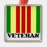 Veterano de Vietnam Adorno Cuadrado Plateado