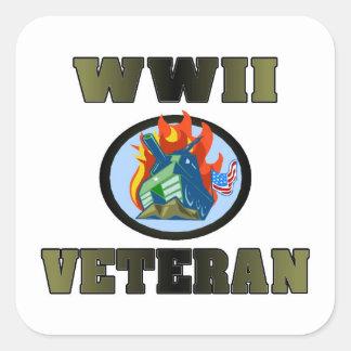 Veterano de WWII Calcomanías Cuadradass Personalizadas