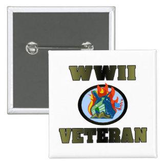 Veterano de WWII Pin Cuadrado