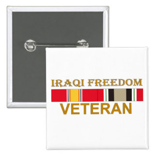 Veterano iraquí de la libertad - botón pin cuadrado