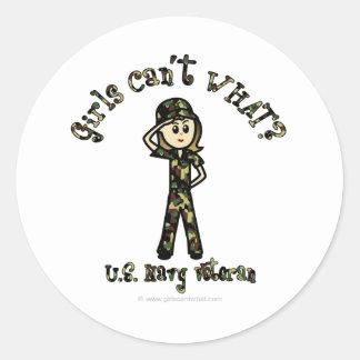 Veterano ligero de la marina de guerra de la mujer pegatina redonda