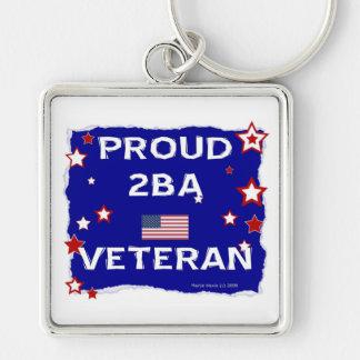 Veterano orgulloso 2BA Llavero Cuadrado Plateado