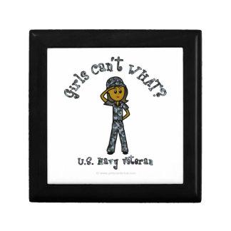 Veterano oscuro de la marina de guerra (Camo azul) Joyero Cuadrado Pequeño