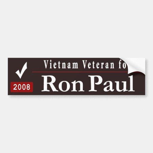 Veterano para Ron Paul - negro de Vietnam Pegatina De Parachoque