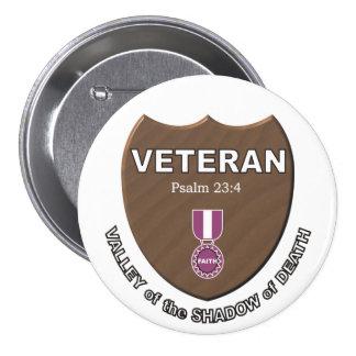 Veterano Pin Redondo De 3 Pulgadas