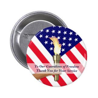 Veterano y Gracias-Redondo militar del servicio Pin Redondo De 2 Pulgadas