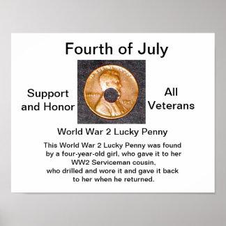 Veteranos afortunados del penique Poster/WW2/de la