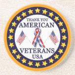 Veteranos americanos 2 posavasos personalizados