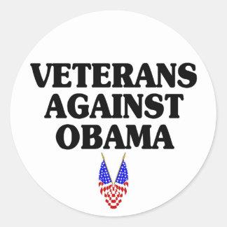 Veteranos contra Obama Pegatina Redonda