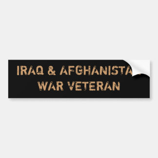 VETERANOS DE GUERRA DE IRAQ Y DE AFGANISTÁN PEGATINA DE PARACHOQUE