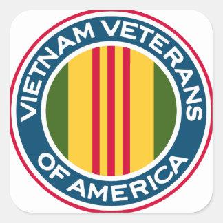 Veteranos de Vietnam del logotipo de América Colcomanias Cuadradases