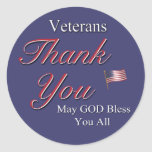 Veteranos, gracias, pegatina redonda