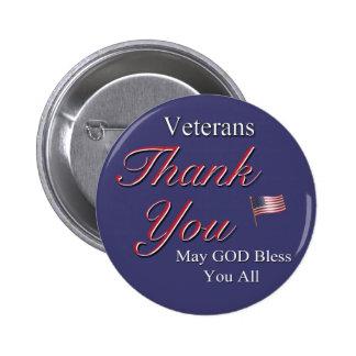Veteranos, gracias, pin redondo 5 cm