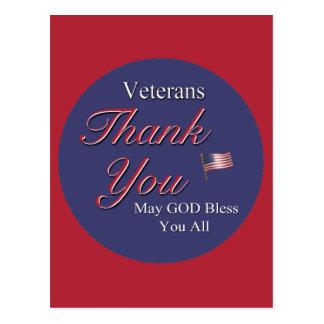 Veteranos, gracias, tarjetas postales