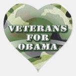 Veteranos para Obama Pegatina En Forma De Corazón