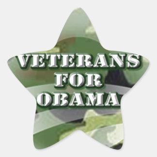 Veteranos para Obama Pegatina En Forma De Estrella