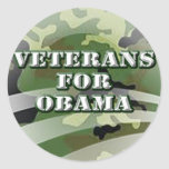 Veteranos para Obama Pegatina Redonda