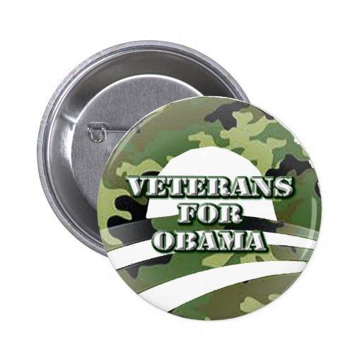 Veteranos para Obama Pin Redondo 5 Cm
