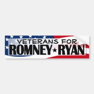 Veteranos para Romney/pegatina para el parachoques Etiqueta De Parachoque