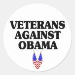 Veterans against Obama Round Stickers