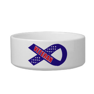 Veterans Blue Stars Ribbon Support the Troops Cat Water Bowls