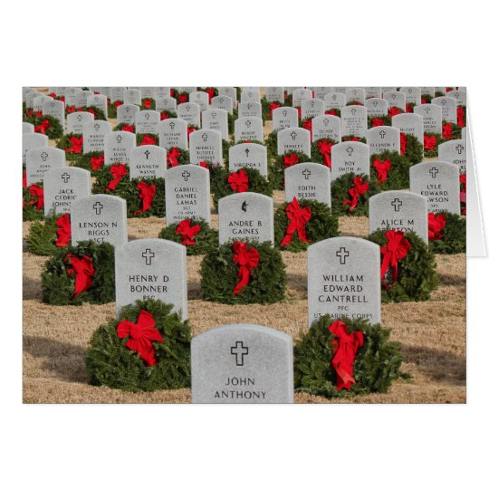 Veterans Cemetery Christmas Wreaths Lest we forget Card