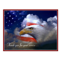 Veterans Day American Flag and Eagle Postcard