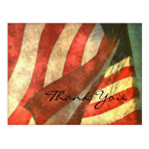 Veterans Day American Flag and Thank You Postcard